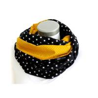 XXL Loop Stillloop Stillschal extrabreit Baumwolle Sterme Punkte gelb schwarz Bild 1