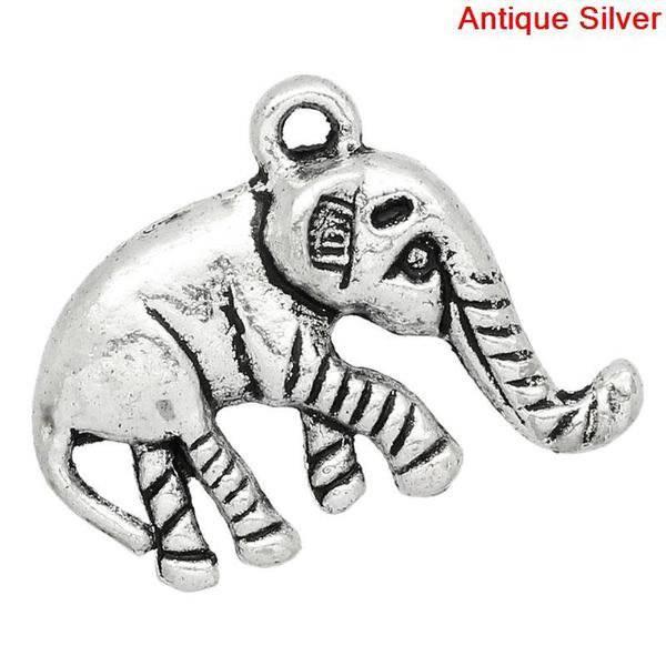 5 Anhänger, Elefant,silber, Vintage-Stil, charm, charms,   28356 Bild 1