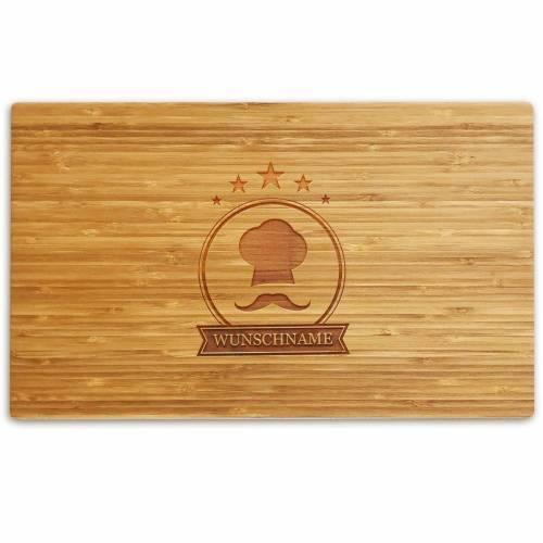 Schneidebrett personalisiert Gravur Bambus o. Buche KOCHMÜTZE Holzschneidebrett individuell graviert Namen Küchenbrett Grillbrett Geschenk