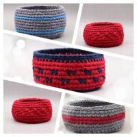 Utensilo - Körbchen aus Textilgarn gehäkelt, rot oder grau Bild 1
