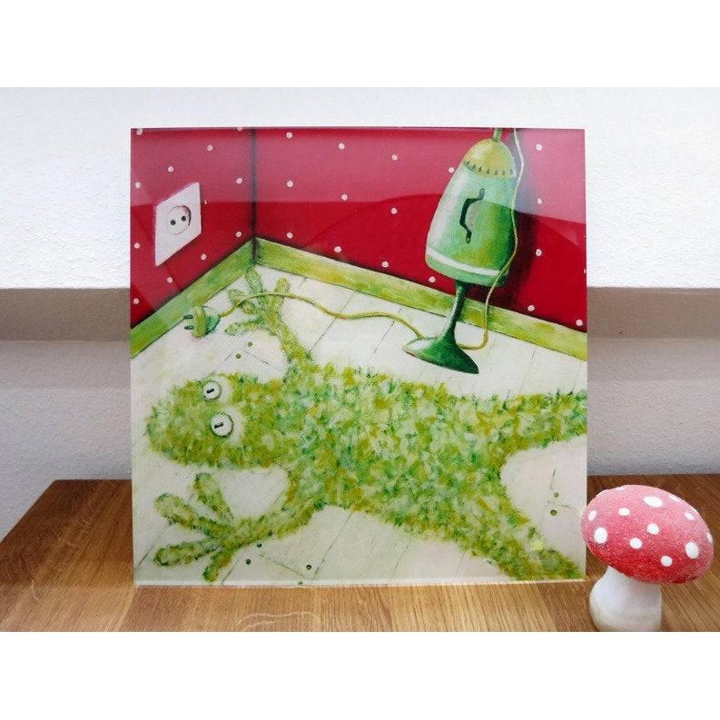 Flokatifrosch, Druck hinter Acrylglas, Frosch, Froschbild, witziges Bild, Bild für Kinderzimmer, Bild als Geschenk Bild 1
