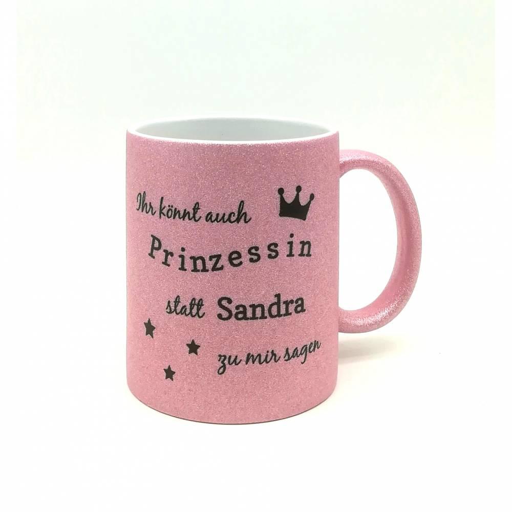 """Glitzertasse personalisiert mit Namen """"Prinzessin"""" / Tasse mit Glitzer Individualisierbar/ Kaffeebecher / Teetasse  Bild 1"""