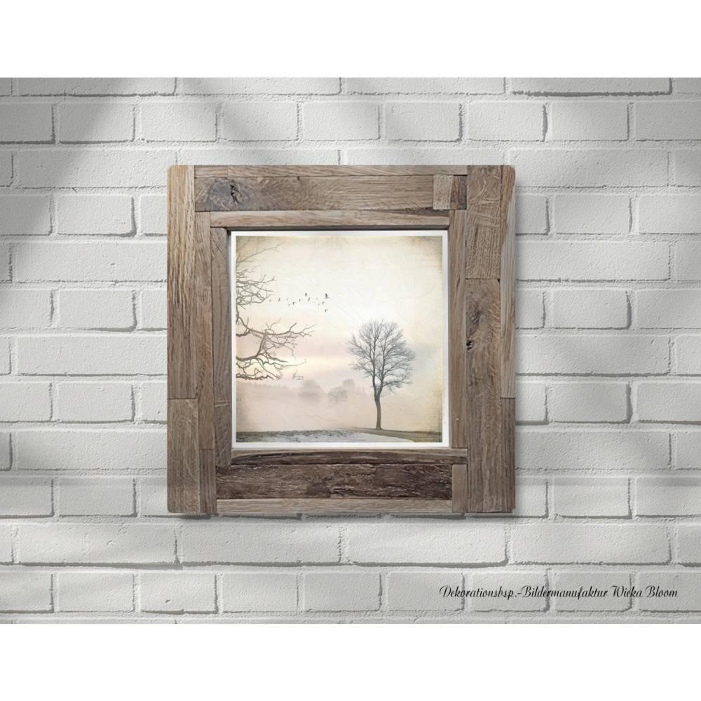 Landschaftsbild HINTER DEM NEBEL auf Holz Leinwand Print Wanddeko Landhausstil Vintage Shabby Chic handmade kaufen Bild 1