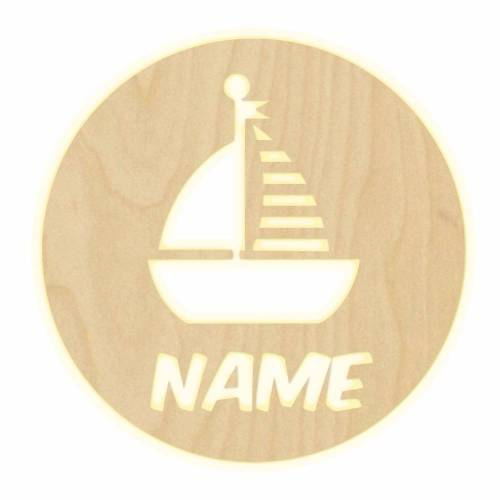 """Wandlampe """"Boot"""" Kinderzimmer personalisierte Lampe Namen Nachtlicht Leuchte Wandleuchte Deko Jungen Mädchen Baby SchlummerlichtSegelboot"""