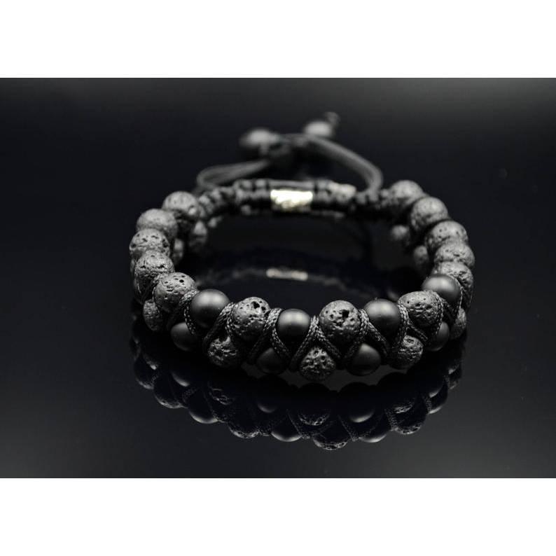 Herren Doppel-Armband aus Edelsteinen Onyx und Lavastein mit Knotenverschluss, Perlen 8 mm Bild 1