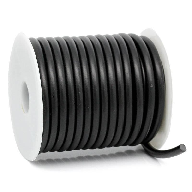 Silikonschnur, Meterware, 5mm, rund, schwarz, Schnur, Gummischnur, 30486 Bild 1