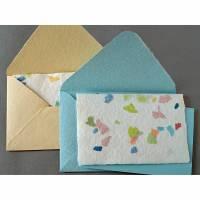 2 handgeschöpfte Büttenumschläge mit Faltkarte und Schreibblatt, ca. 16,5 cm x 11,5 cm, türkis, cremefarben, bunt Bild 1