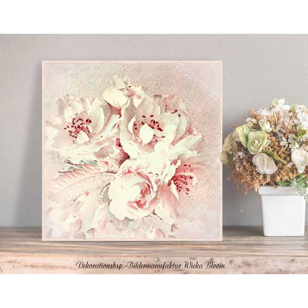 APFELBLÜTE Blumenbild auf Holz Leinwand Kunstdruck Baumblüte Wanddeko Landhausstil ShabbyChic VintageStyle Romantisch Bild 1