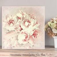 APFELBLÜTE Blumenbild auf Holz Leinwand Kunstdruck Print*Baumblüte*Wanddeko Landhausstil Shabby Chic Vintage Romantisch Bild 1
