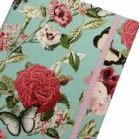 """Notizbuch Tagebuch """"Butterfly&Flower/Mint"""" A5 Hardcover stoffbezogen Stoff romantisch floral Blumen Blüte Garten Bild 1"""