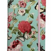 """Notizbuch Tagebuch """"Butterfly&Flower/Mint"""" A5 Hardcover stoffbezogen Stoff romantisch floral Blumen Blüte Garten Bild 2"""