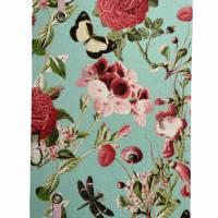 """Notizbuch Tagebuch """"Butterfly&Flower/Mint"""" A5 Hardcover stoffbezogen Stoff romantisch floral Blumen Blüte Garten Bild 3"""