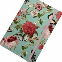 """Notizbuch Tagebuch """"Butterfly&Flower/Mint"""" A5 Hardcover stoffbezogen Stoff romantisch floral Blumen Blüte Garten Bild 4"""