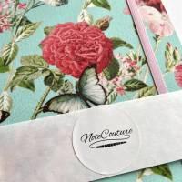 """Notizbuch Tagebuch """"Butterfly&Flower/Mint"""" A5 Hardcover stoffbezogen Stoff romantisch floral Blumen Blüte Garten Bild 6"""