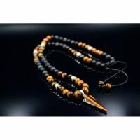 Herren Halskette aus Edelsteinen Tigerauge Onyx Lava Hämatit mit Anhänger, Länge 60 cm Bild 1