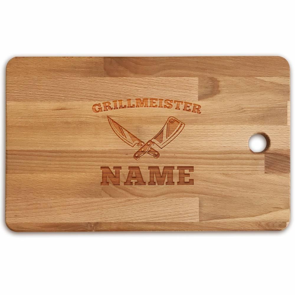 Schneidebrett personalisiert Gravur Bambus o Buche GRILLMEISTER Holzschneidebrett individuell graviert Namen Küchenbrett Grillbrett Geschenk Bild 1