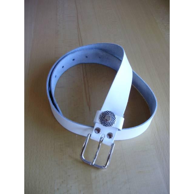 Vintage Ledergürtel in weiß mit Metallrosette aus den 80er Jahren Bild 1