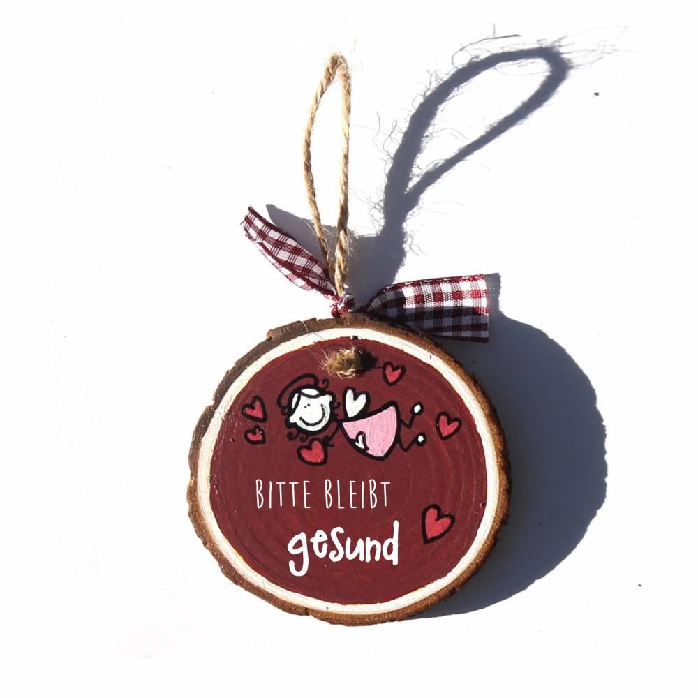 Glücksbringer Mutmacher Dankeschön Schutzengel STEHEND oder FLIEGEND auf kleiner Holzscheibe Wunschfarbe Wunschtext Bild 1