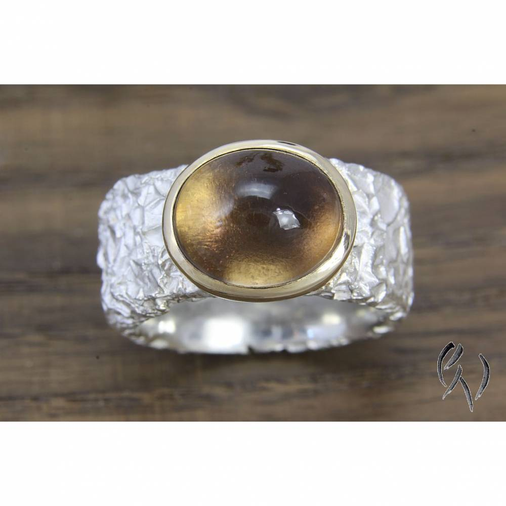 Breiter Ring aus Silber 925/- mit Rauchquarz, Knitterring, ca 10-11 mm Bild 1