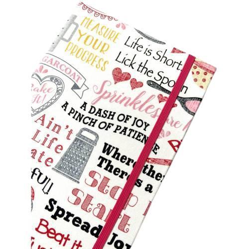 "Notizbuch Rezeptbuch ""Let´s start baking!"" Hardcover A5 stoffbezogen Retro Kuchen Torten Hobbybäcker Backfan Geschenk Geschenkidee Geschenkartikel Fanartikel Bild 1"