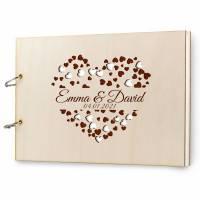 Gästebuch Hochzeit Holz personalisiert mit Namen Lasergravur DIN A4 quer 300x215 mm, 50 Blatt 300 gr Papier Gravur Hochzeitsgästebuch Bild 1