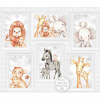 SPAR PAKET Kinderzimmer Bilder Babyzimmer Poster Deko Safari Afrika Tiere Kunstdruck Kinderbild | A4 | SET 59 Bild 1
