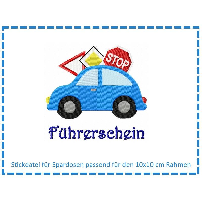Stickdatei für Spardosen - Führerschein 10x10 Bild 1