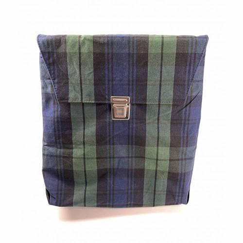 Rucksacktasche Rucksack Tasche Oilskin Karo Grün/Blau