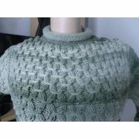 Handgestrickter lässiger Sweater für Frauen/ Grüntöne / extravagantes Muster/ handgestricktes Unikat Bild 1