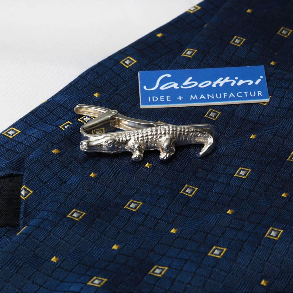 """""""Krokodil"""" als Krawattenklammer in 925 Silber gefertigt. Zum Aufpeppen von langweiligen Krawatten, witziger Männerschmuck. Bild 1"""