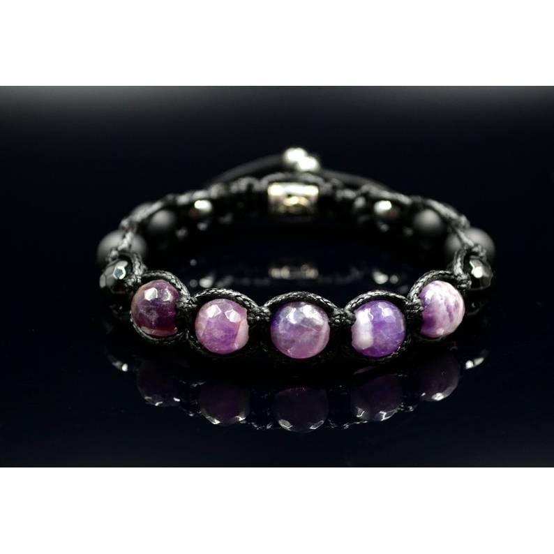 Herren Armband aus Edelsteinen Amethyst Achat Onyx und Hämatit mit Knotenverschluss, Makramee Armband, 10 mm Bild 1