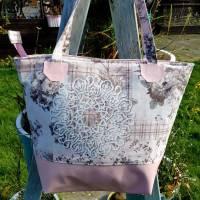große Tasche, Shopper, Umhängetasche, Rosa Rosen Ornamente Bild 1
