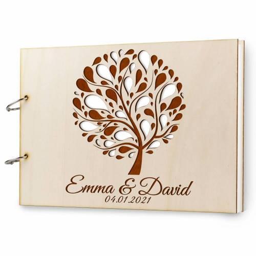 Gästebuch Hochzeit Holz personalisiert mit Namen Lasergravur DIN A4 quer 300x215 mm, 50 Blatt 300 gr Papier Gravur Hochzeitsgästebuch