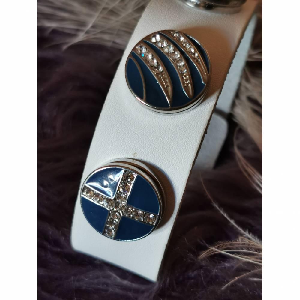 Armband mit 3 Click-Button weiß Bild 1