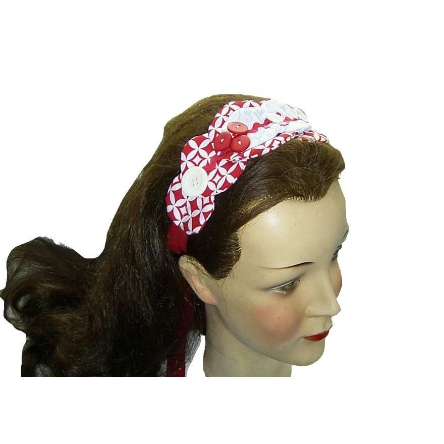Haarband rot weiß hellblau mit Knöpfen Bild 1