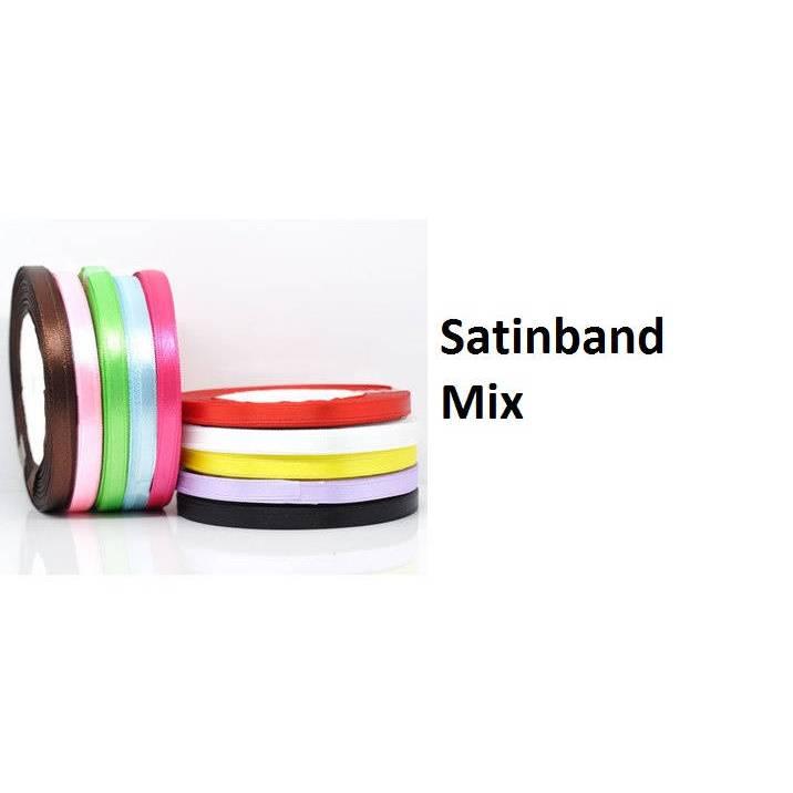 Satinbänder-Mix ,10 Rollen a 9 Meter, bunt, Band, Bänder, Satin, Schmuckbänder Bild 1