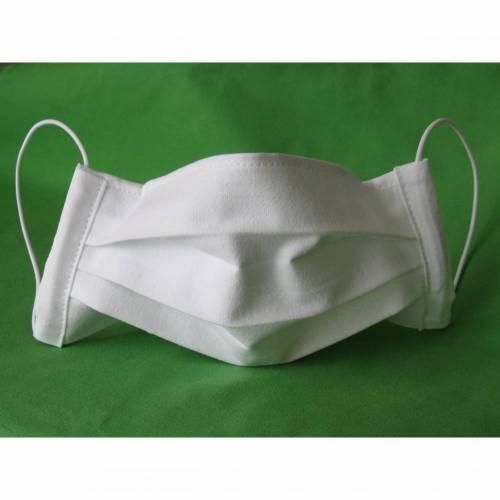 Mund-Nasen-Maske mit Nasenbügel, Behelfs-Mundschutz, Mundbedeckung, Gesichtsmaske kochfest weiß
