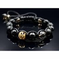 Herren Armband aus Edelsteinen Onyx Lava Achat und Rauchquarz mit Knotenverschluss, Makramee Armband, 10 mm Bild 1