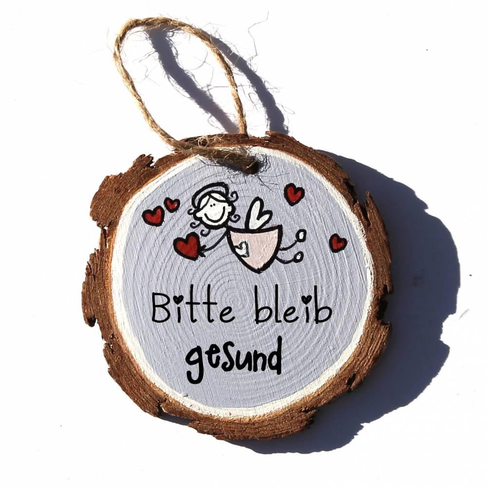 Glücksbringer Mutmacher Schutzengel FLIEGEND oder STEHEND auf kleiner Holzscheibe Wunschfarbe Wunschtext Bild 1