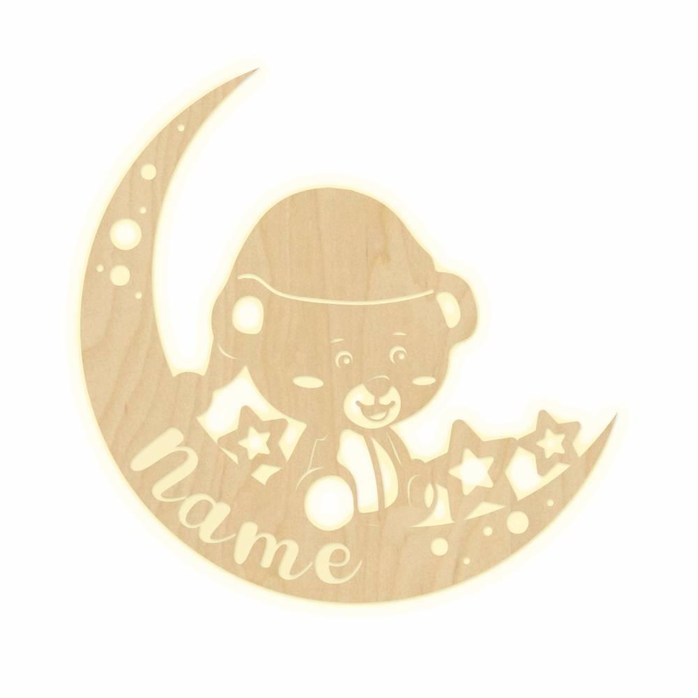 Wandlampe Mond Sterne Kinderzimmer personalisierte Lampe Namen Nachtlicht Leuchte Wandleuchte Dekoration Jungen Mädchen Baby Schlummerlicht Bild 1