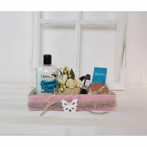 Wellness Geschenk, blau creme, Wellness Set, Geschenk Set, mit kleinem Gesteck, Set 2