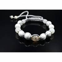 Herren Armband aus Edelsteinen Achat und Howlith mit Knotenverschluss, Makramee Armband, 10 mm Bild 1
