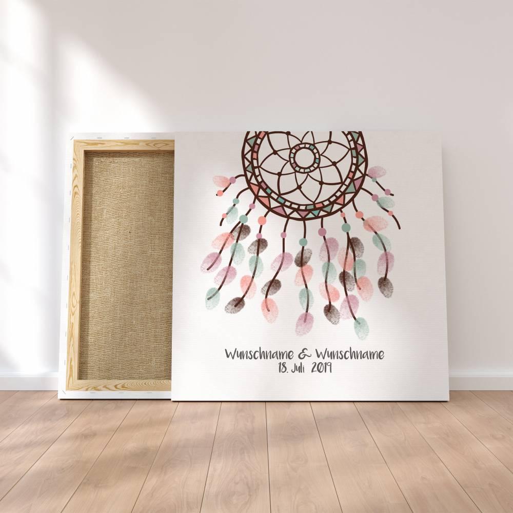Gästebuch Hochzeit Fingerabdruck Leinwand Personalisiert Traumfänger Brautpaar Geschenk Hochzeitsdekoration Namen 50x50 cm Keilrahmen Bild 1
