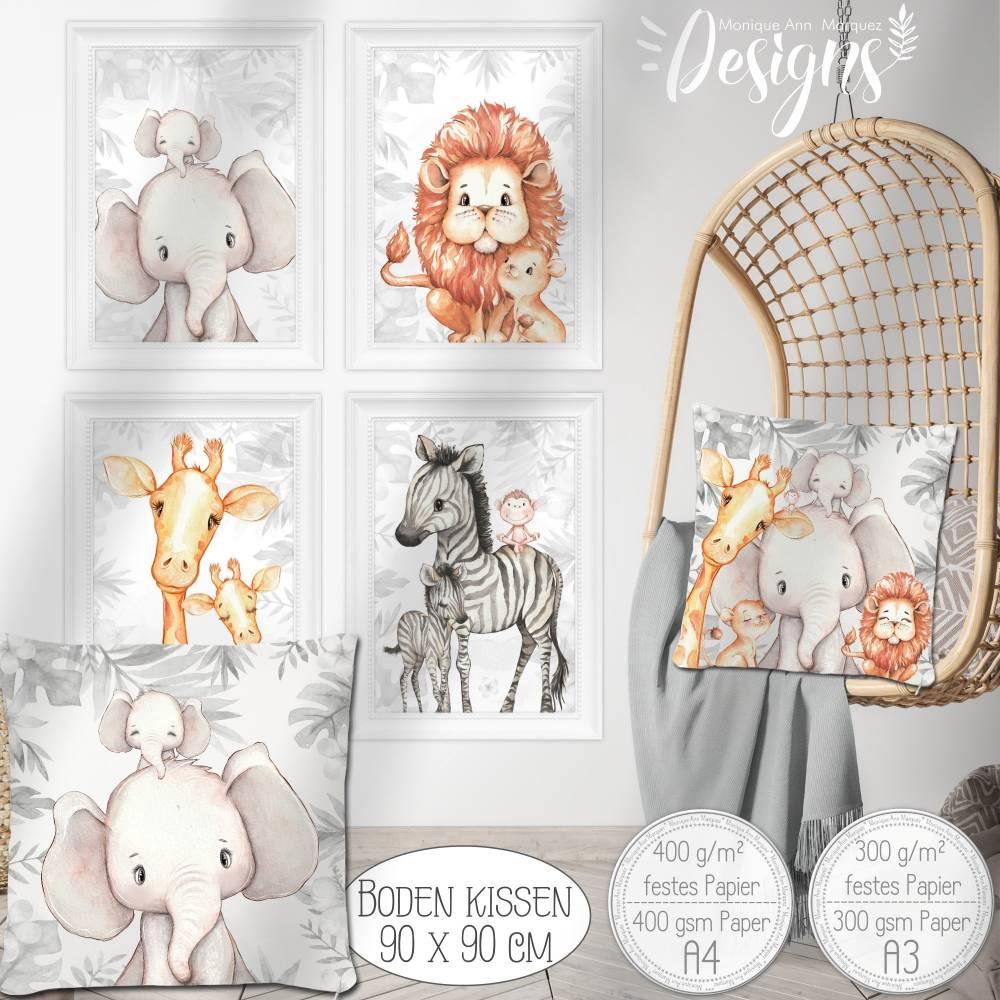 Kinderzimmer Bilder (Auswahl 1, 2er, 3er Sets) Poster Safari Afrika Tiere Kinderbild   A4   SET 59 Bild 1