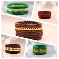 Utensilo - Körbchen aus Textilgarn gehäkelt,braun oder grün Bild 1