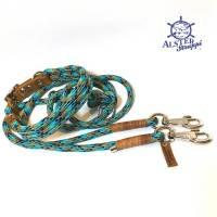 Leine Halsband Set türkis mint cognac, für mittelgroße Hunde, verstellbar