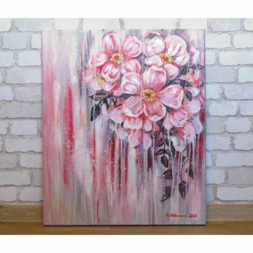 WILDE ROSEN -  Leinwandbild 50cm x 60cm,  handgemaltes Blumenbild mit Heckenrosen