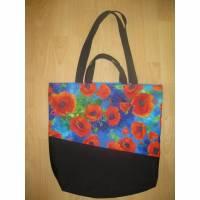 Stofftasche  Mohnblumen aus Baumwolle mit vier Henkeln  Bild 1