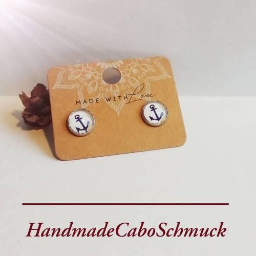 Edelstahl Cabochon Ohrringe 10mm Anker, Maritm, weiß mit grauen Punkten - als Stecker oder Hänger möglich