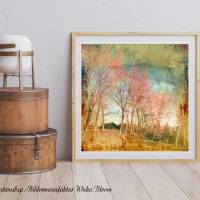 Landschaftsbild INDIAN SUMMER auf Holz Leinwand Print Wanddeko Landhausstil Vintage Shabby Chic handmade kaufen Bild 1